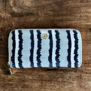 Tory Burch Striped Snake Zip Continental Wallet